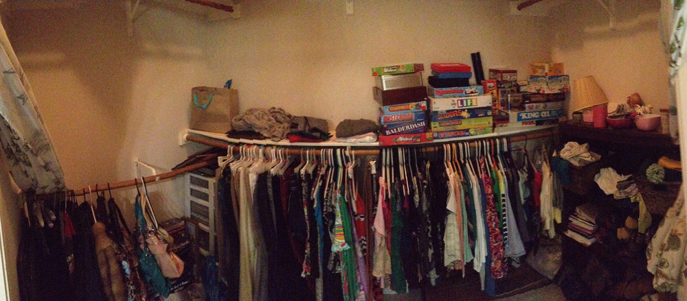 Strange (embarrassing) panoramic view of my closet right now. (click to enlarge)